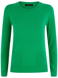 Jaeger Cashmere Pocket Jumper Bright Green