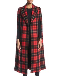 Michael Kors Double Breasted Tartan Plaid Cape Coat Red Pattern
