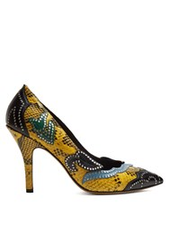 7a5db7a90a13 Isabel Marant Pavine Studded Snake Effect Leather Pumps Yellow Multi
