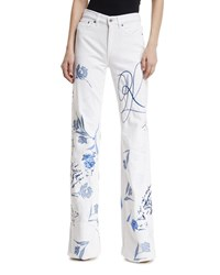 Ralph Lauren 143 Embroidered Wide Leg Jeans White