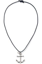 Red Valentino Silver Tone Cord Necklace Midnight Blue
