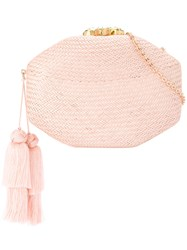 Rafe Woven Clutch Bag Pink And Purple