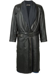 Issey Miyake Vintage Faux Leather Trench Coat Black