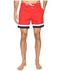 Lacoste Color Block Swim Shorts Red White Cosmos Men's Swimwear
