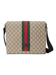 Gucci Gg Supreme Messenger Bag Men Leather Nylon Canvas One Size Nude Neutrals