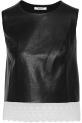 Bailey 44 Kalahari Desert Broderie Anglaise Trimmed Faux Leather Top Black