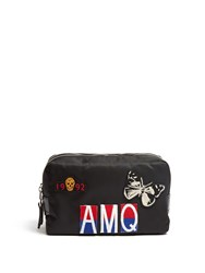Alexander Mcqueen Badge Applique Nylon Washbag Black Multi