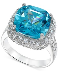 B. Brilliant Aqua And Clear Cubic Zirconia Cocktail Ring In Sterling Silver 10 1 5 Ct. T.W.