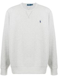 Ralph Lauren Logo Embroidered T Shirt Grey