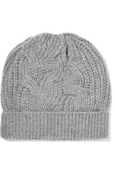 Johnstons Of Elgin Cable Knit Cashmere Beanie Gray