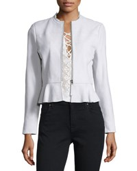 Rebecca Taylor Lambskin Leather Peplum Jacket Pale Glacier