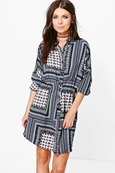 Boohoo Paisley Border Print Tie Front Shirt Dress Navy