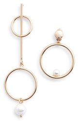 Danielle Nicole Mismatched Imitation Pearl Statement Earrings Gold