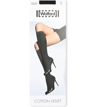 Wolford Opaque Cotton Blend Knee Highs Black