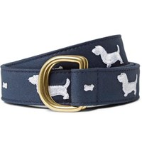 Thom Browne 3Cm Embroidered Leather Trimmed Cotton Twill Belt Storm Blue