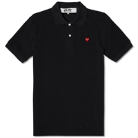 Comme Des Garcons Play Little Red Heart Polo Black