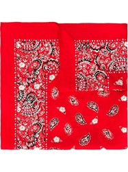 Marc Jacobs Studded Paisley Bandana Scarf Red