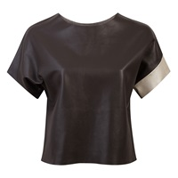 Claire Andrew Leather Graphite Tee Black
