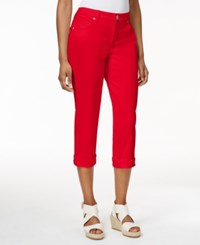 Styleandco. Style And Co. Petite Jeans Tummy Control Cuffed Capri Colored Wash New Red Amore