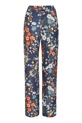 Love Floral Wide Leg Trousers By Navy Blue