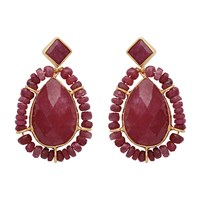 Carousel Jewels Gold And Dyed Ruby Teardrop Earrings Red Gold