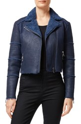J Brand Aiah Lambskin Leather Moto Jacket With Genuine Shearling Trim Washed Navy