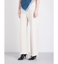 Marques Almeida Oversized Wide Leg High Rise Jeans Off White