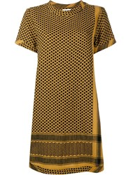 Cecilie Copenhagen Keffiyeh Cotton Short Sleeve Dress Yellow And Orange