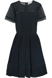Michael Michael Kors Broderie Anglaise Cotton Blend Dress Midnight Blue