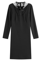 The Kooples Dress With Lace And Embellished Velvet Bow Black