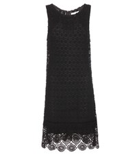 Velvet Cosmo Crochet Knit Cotton Blend Dress Black