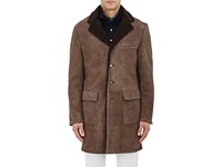 Barneys New York Men's Lamb Shearling Coat Brown