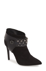 Pedro Garcia 'Andy' Studded Pointy Toe Bootie Women Black Suede Leather Studs