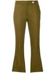 Msgm Cropped Flare Trousers Green