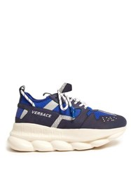 Versace Chain Reaction Mesh And Suede Trainers Blue