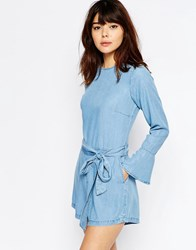 Asos Denim Frill Cuff Romper In Light Blue Wash Lightwash Blue