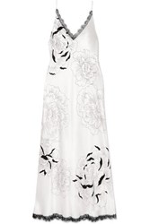 Carine Gilson Chantilly Lace Trimmed Floral Print Silk Satin Nightdress Ivory