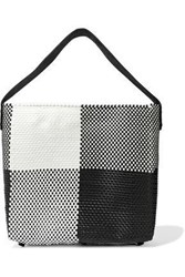 Truss Leather Trimmed Checked Woven Tote Black