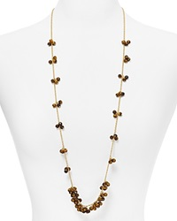 Kenneth Jay Lane Faux Tiger's Eye Beaded Necklace 36 Tiger Eye