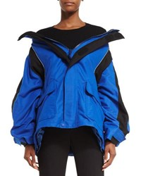 Balenciaga Off The Shoulder Tech Fabric Coat Blue Black Blue Black