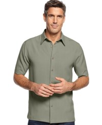 John Ashford Short Sleeve Solid Texture Shirt Herbal Sage