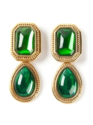 Yves Saint Laurent Vintage Pendant Clip On Earrings Green