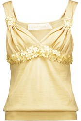 Valentino Embellished Wool And Silk Blend Top Yellow