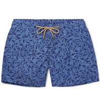 Thorsun Pescado Slim Fit Mid Length Printed Shell Swim Shorts Navy