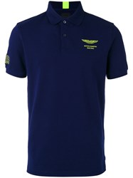 Hackett Chest Print Polo Shirt Blue