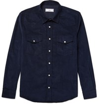 Ami Alexandre Mattiussi Slim Fit Cotton Corduroy Western Shirt Navy