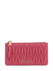 Miu Miu Quilted Leather Card Holder Magenta