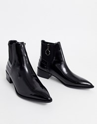 Bershka Compact Chelsea Boot In Black