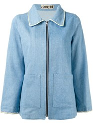 Jour Ne Zipped Denim Jacket Women Cotton 40 Blue