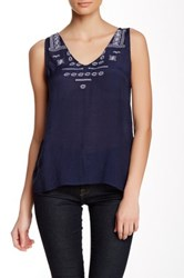 Dex Embroidered Tank Blue